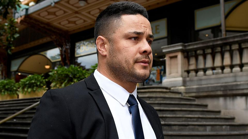 Seen here, Jarryd Hayne walks outside a Sydney court in March.