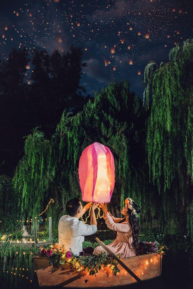 """A photo from the couple's """"Tangled"""" engagement session."""
