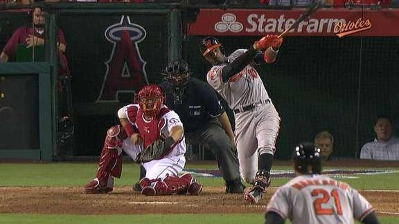Jones' pair of 2-run HRs leads O's over Angels 4-2