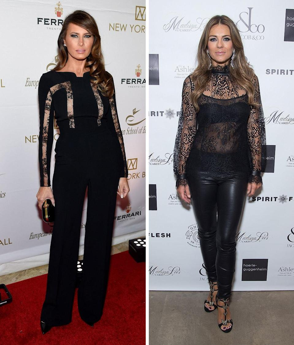 <p>Both Trump and Hurley know the power of an all-black outfit—especially one with strategically placed cutouts and some killer heels. Though Trump's is a bit more modest than Hurley's, it's just as sexy, and certainly not something we've ever dreamed of seeing a First Lady wear before. <i>Photos: Getty</i></p>