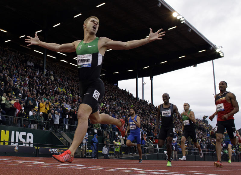 Nicholas Symmonds reacts after winning the men's 800m finals at the U.S. Olympic Track and Field Trials Monday, June 25, 2012, in Eugene, Ore. (AP Photo/Matt Slocum)