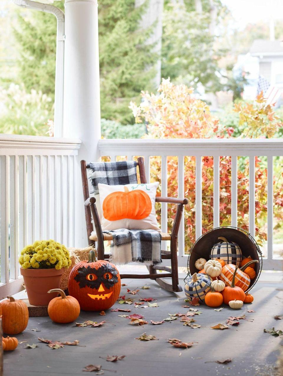 """<p>Paint fall's favorite pattern onto any smooth gourd. For the best effect, choose two or three colors and add fine lines between the thick ones. (Like the pumpkin on the right? Fashion real or artificial leaves into a quick disguise for a classic Jack-O'-Lantern.) </p><p><strong>What You'll Need:</strong> <a href=""""https://www.amazon.com/Zenacolor-Acrylic-Painting-Supplies-Children/dp/B07PPTRFPL/ref=sr_1_1_sspa?dchild=1&keywords=acrylic+paint&qid=1594916836&sr=8-1-spons&psc=1&spLa=ZW5jcnlwdGVkUXVhbGlmaWVyPUEzQUFPMVA4NkZTMENSJmVuY3J5cHRlZElkPUEwODgzMjkzMzBZTkFDRVdYQkQ5UyZlbmNyeXB0ZWRBZElkPUEwNTQ1Nzg1M0ZOUklUQVdQUTZWSyZ3aWRnZXROYW1lPXNwX2F0ZiZhY3Rpb249Y2xpY2tSZWRpcmVjdCZkb05vdExvZ0NsaWNrPXRydWU%3D&tag=syn-yahoo-20&ascsubtag=%5Bartid%7C10070.g.1279%5Bsrc%7Cyahoo-us"""" rel=""""nofollow noopener"""" target=""""_blank"""" data-ylk=""""slk:Acrylic paint"""" class=""""link rapid-noclick-resp"""">Acrylic paint</a> ($30, Amazon)</p>"""