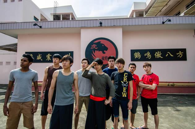 The supporting cast in 'The Lion Men' included 'Ah Boys' Charlie Goh (fourth from left), Maxi Lim (centre) and Noah Yap (third from right). (Photo courtesy of J Team productions)