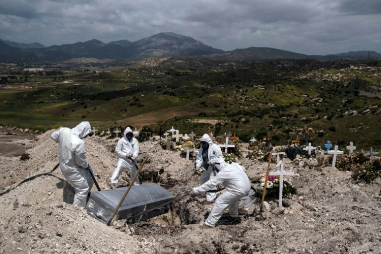 Cemetery workers wearing protective gear bury an unclaimed Covid-19 coronavirus victim in Tijuana, Baja California state, Mexico in April 2020 - the IMF has just warned it will take Mexico years to recover from the pandemic