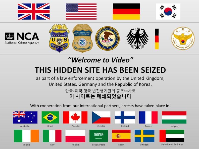 The message posted on the Welcome to Video website after it was seized by authorities. (Photo: DOJ)