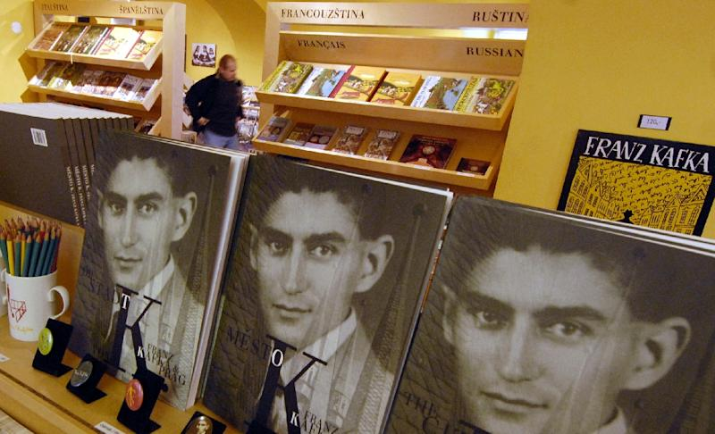 "Czech writer Franz Kafka, seen here on copies of his books, was best known for his works ""The Trial"" and ""The Castle"""