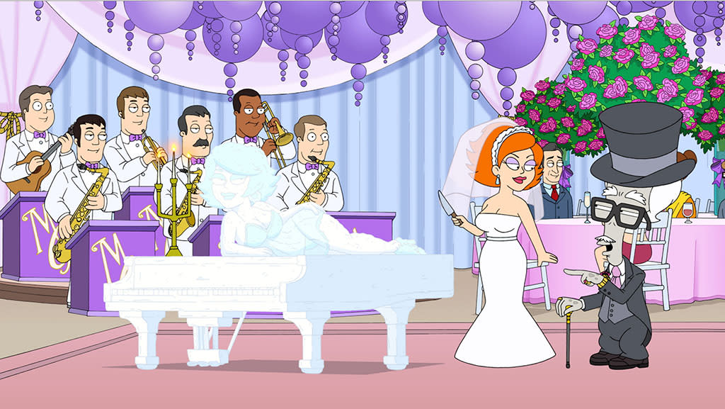 """Max Jets,"" a character of Roger's, falls in love with Gina (guest voice by Michelle Monaghan), a gold-digging waitress,  in the all-new ""Max Jets"" episode of ""American Dad"" airing Sunday, Feb. 10 (9:30-10:00 PM ET/PT) on FOX."