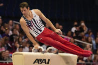 Alec Yoder competes on the pommel horse during the men's U.S. Olympic Gymnastics Trials Saturday, June 26, 2021, in St. Louis. (AP Photo/Jeff Roberson)