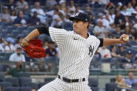 New York Yankees starting pitcher Andrew Heaney delivers in the first inning of a baseball game against the Baltimore Orioles, Monday, Aug. 2, 2021, in New York. (AP Photo/Mary Altaffer)