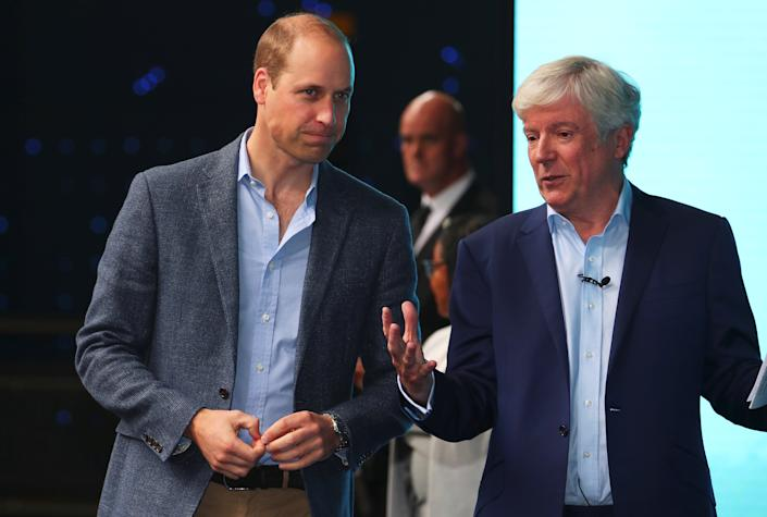 Britain's Prince William speaks to Tony Hall Director-General of the BBC  as he attends the premiere of Blue Planet II at the British Film Institute in London, Britain, September 27, 2017. REUTERS/Hannah McKay