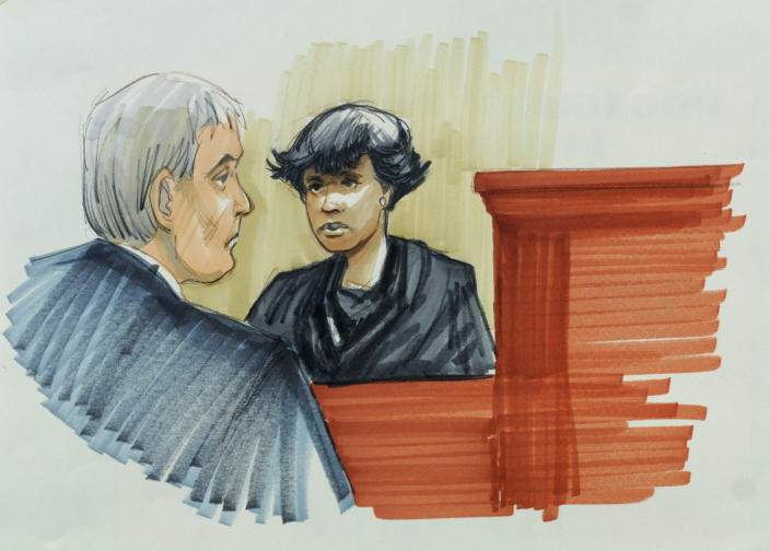 In this courtroom sketch, singer and actress Jennifer Hudson testifies Monday, April 23, 2012, in Chicago at the murder trial of William Balfour, charged in the October 2008 killings of her mother, brother and nephew. Looking on is Cook County Judge Charles Burns. Oscar-winner Jennifer Hudson broke down in tears Monday while testifying at the trial of the man accused of killing her mother, brother and 7-year-old nephew in a jealous rage four years ago. (AP Photo/Tom Gianni)