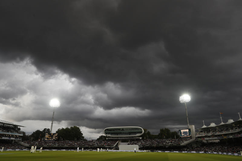 FILE - In this Friday, Sept. 8, 2017 file photo play continues under flood lights on the second day of the third test match between England and the West Indies at Lord's cricket ground in London, Friday, Sept. 8, 2017.The 2019 Cricket World Cup starts in England on May 31, Lord's is one of the venues for the competition including the final on July 14. (AP Photo/Kirsty Wigglesworth, File)