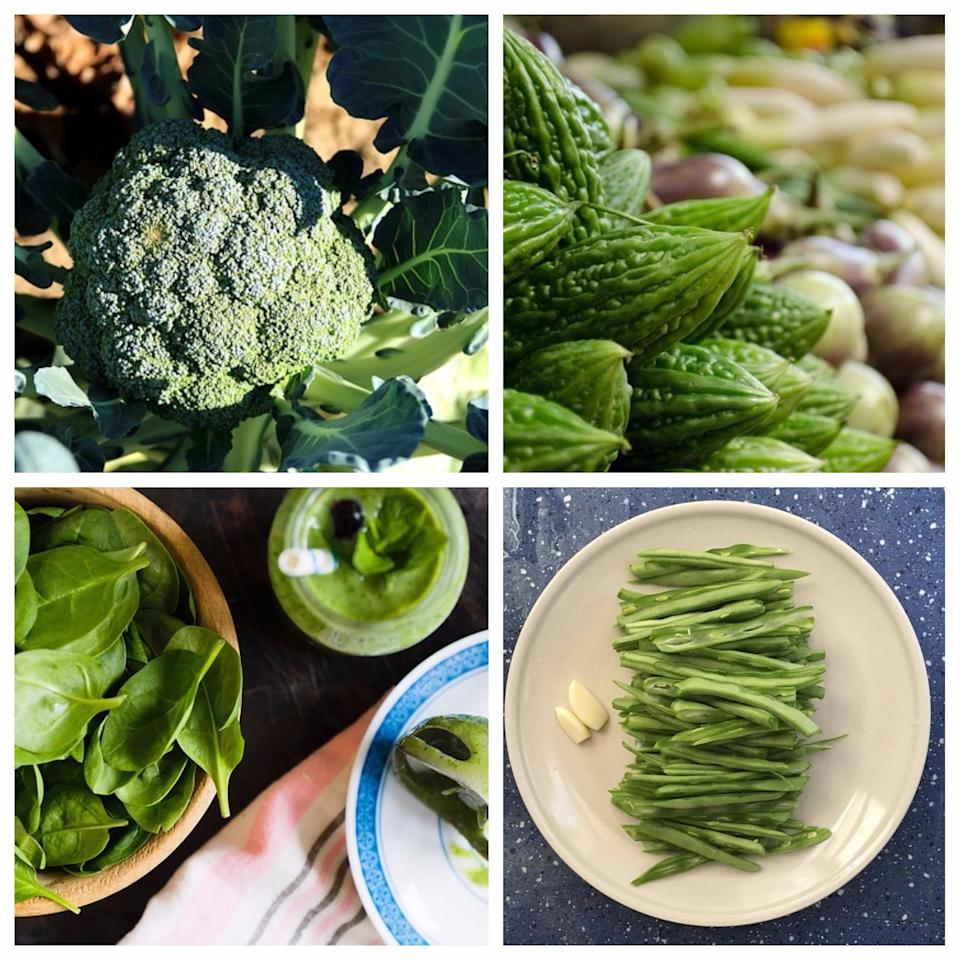 <p>Include vegetables which are high on fibre such as broccoli, peas, bitter guard, spinach, beans in your daily diet. Studies have shown that people who consume one or more serving of spinach on a daily basis, cut down their risk of developing diabetes by 14 percent. Broccoli is high on fiber (5 grams per ½ cup) and low on calories (50), hence is another great vegetable to include in your diet. A study published in the medical journal, 'Diabetes', had found that the compound sulforaphane, which is found in the vegetable, helps to reverse the damage caused by diabetes to the heart blood vessels. Similarly bitter guard contains active substances such as charantin, vicine and polypeptide-p, which have anti-diabetic properties. </p>