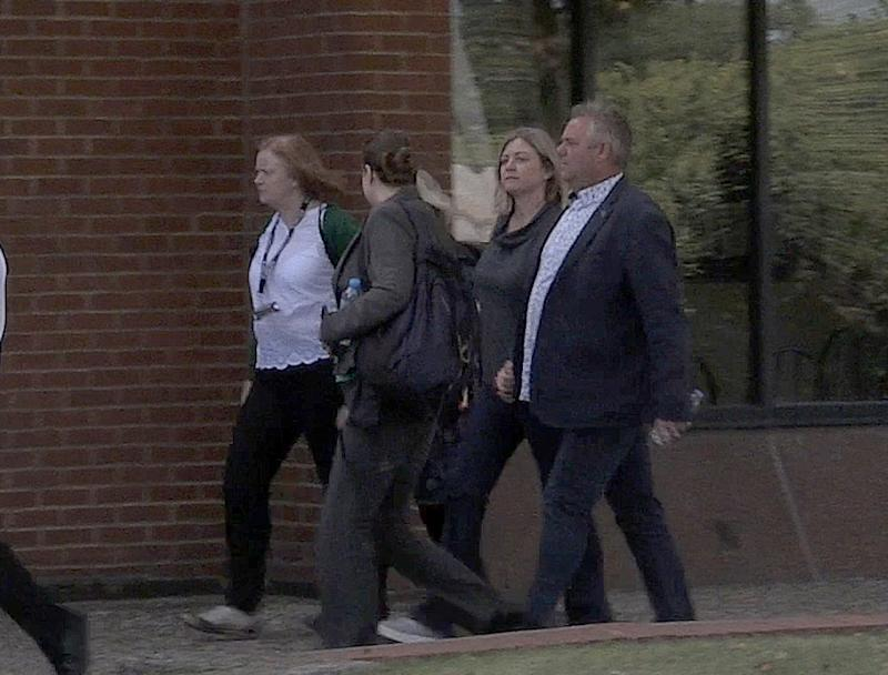 Devastated: The family of Pc Andrew Harper arriving at Reading Magistrates Court where Jed Foster was charged with the murder of Pc Harper.