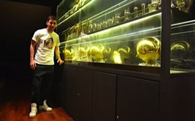 Lionel Messi Posted A Picture Of His Record Fourth Ballon DOr Award In Its New Home On Facebook Page Along With The Message Thanks To Everyone For