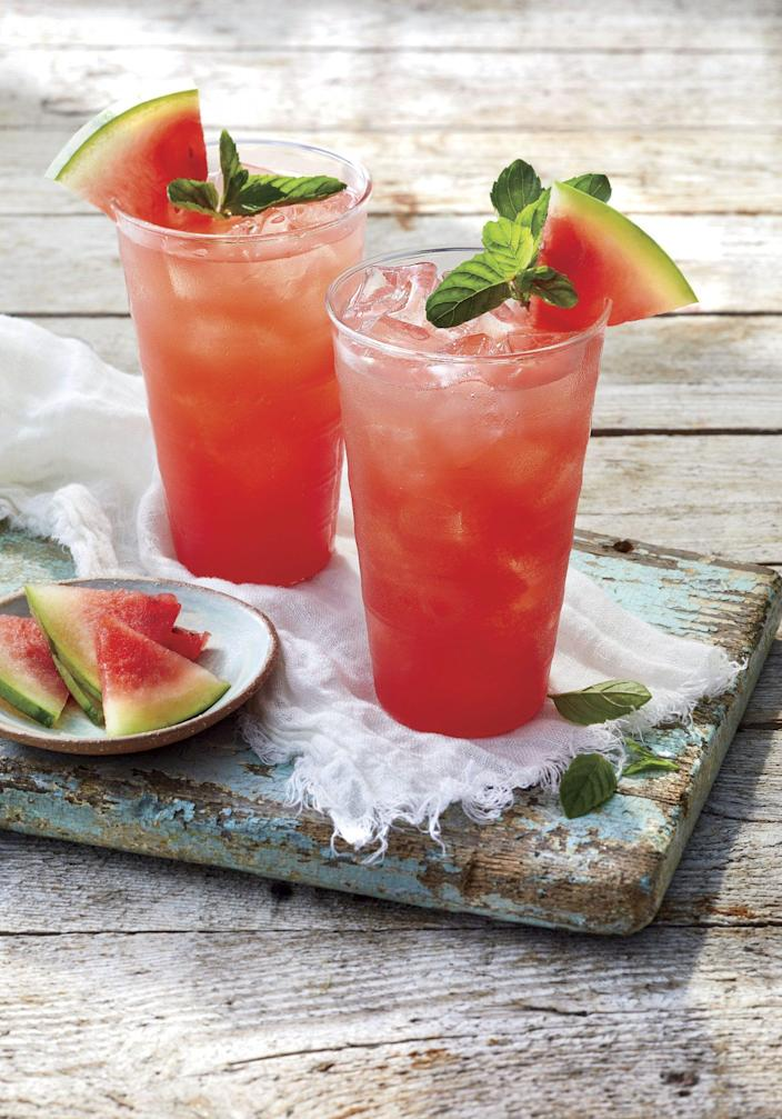 """<p><b>Recipe: </b><a href=""""https://www.southernliving.com/recipes/watermelon-ginger-mojito"""" rel=""""nofollow noopener"""" target=""""_blank"""" data-ylk=""""slk:Watermelon Ginger Mojito"""" class=""""link rapid-noclick-resp"""">Watermelon Ginger Mojito<br></a><br>You can substitute ginger ale for the ginger beer if you prefer a milder taste.</p>"""