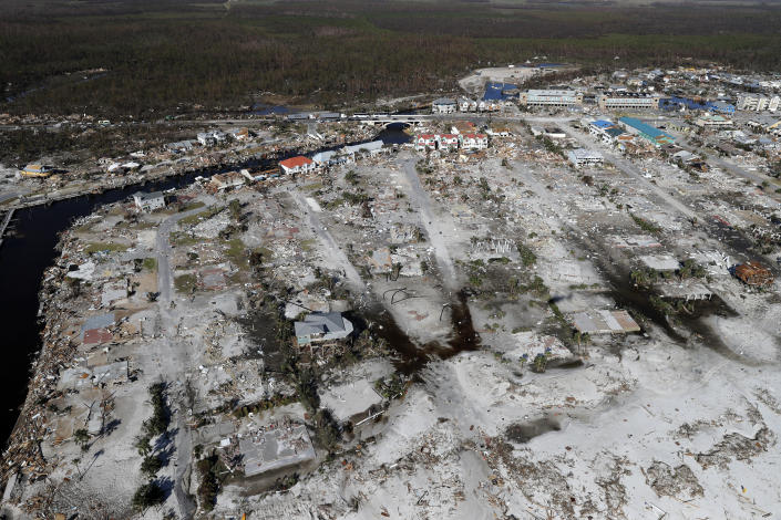<p>Devastation from Hurricane Michael is seen in this aerial photo over Mexico Beach, Fla., Friday, Oct. 12, 2018. ( Photo: Gerald Herbert/AP) </p>