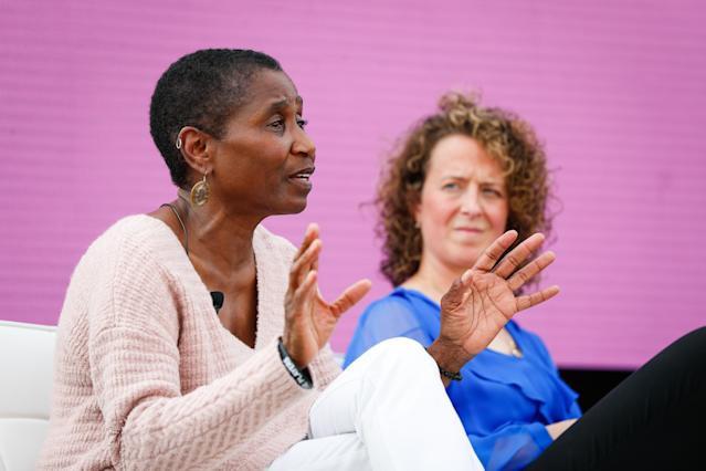 Michele Roberts speaks at the Women in Leadership panel at the espnW Summit in 2018. (Photo by Meg Oliphant/Getty Images)