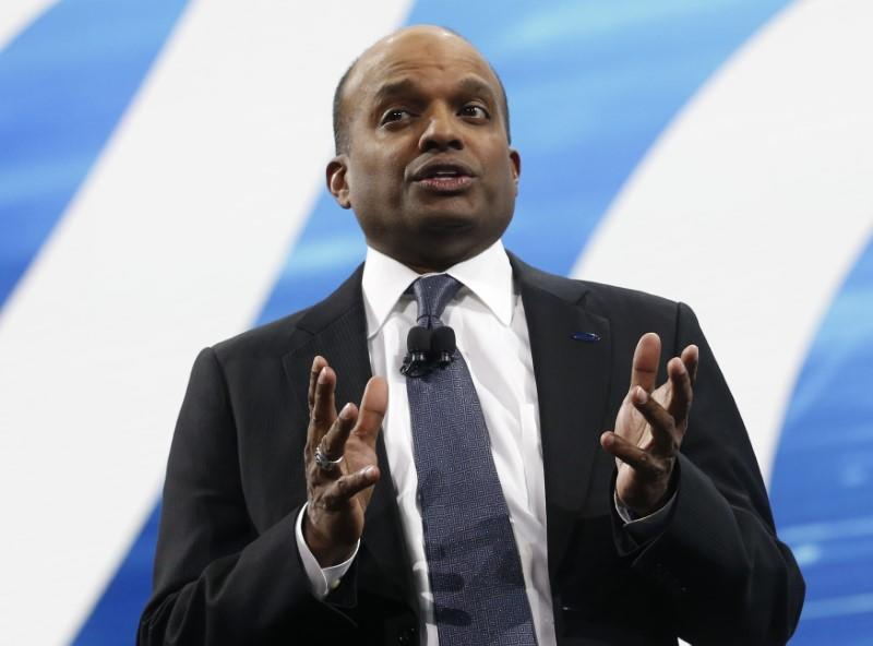 FILE PHOTO: Raj Nair, Ford executive vice-president of global product development, speaks during the North American International Auto Show in Detroit