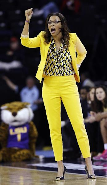 FILE - In this March 8, 2013, file photo, LSU head coach Nikki Caldwell yells to her players during the first half of their NCAA college basketball game against Georgia in the Southeastern Conference tournament in Duluth, Ga. (AP Photo/John Bazemore, File)