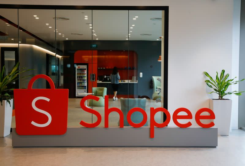 A signage of Shopee is pictured at their office in Singapore