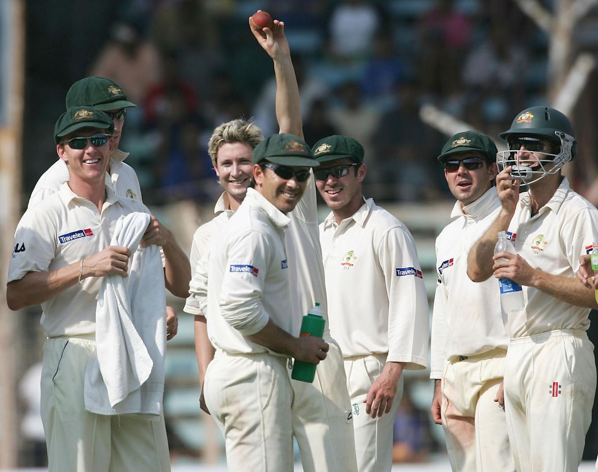 MUMBAI, INDIA - NOVEMBER 5:  Michael Clarke of Australia acknowledges his 5 wicket haul, he finished the innings with figures of 6 wickest for 9 runs during day three of the Fourth Test between India and Australia at Wankhede Stadium on November 5, 2004 in Mumbai, India. (Photo by Hamish Blair/Getty Images)