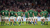 Ireland's players react after their 19-12 loss to Japan during the Rugby World Cup Pool A game at Shizuoka Stadium Ecopa between Japan and Ireland in Shizuoka, Japan, Saturday, Sept. 28, 2019. (Naoya Osato/Kyodo News via AP)