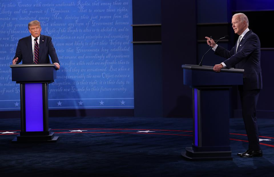 President Trump and Democratic presidential nominee Joe Biden participate in the first presidential debate. (Photo by Win McNamee/Getty Images)