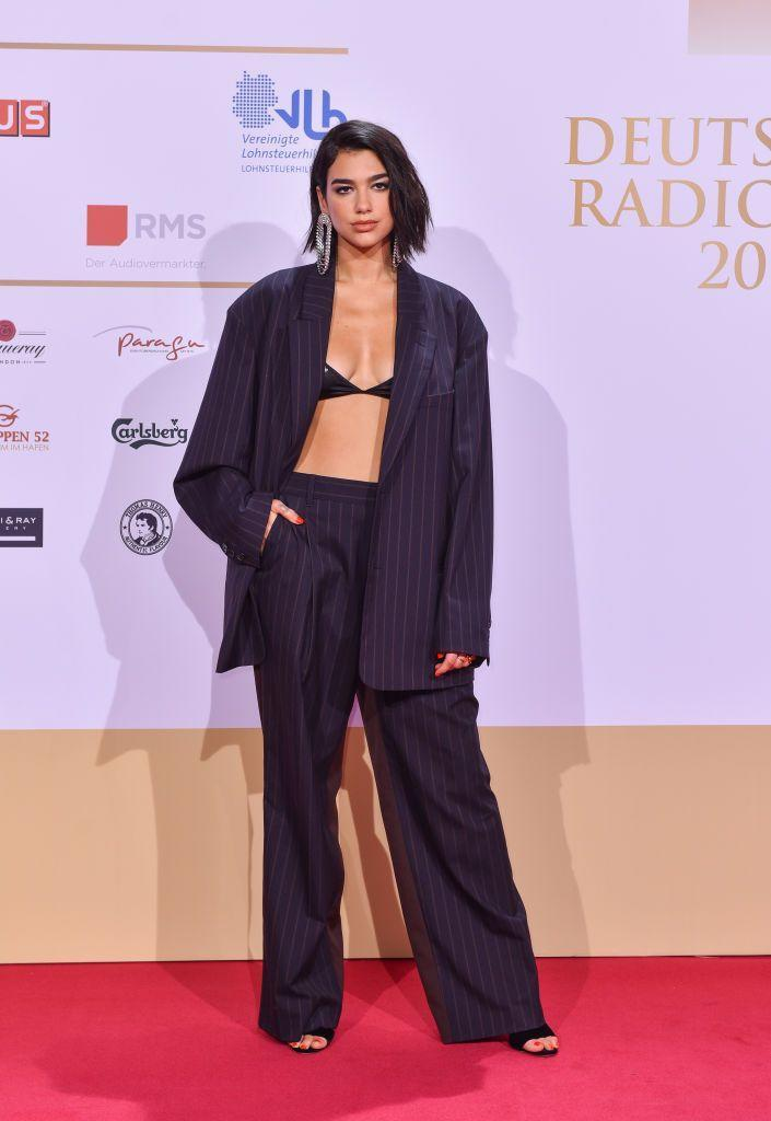 <p>Lipa wore an oversized suit to the Deutscher Radiopreis.</p>