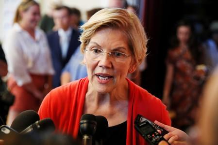 Democratic 2020 U.S. presidential candidate Sen. Elizabeth Warren speaks to members of the media during a town hall at the Peterborough Town House in Peterborough, New Hampshire