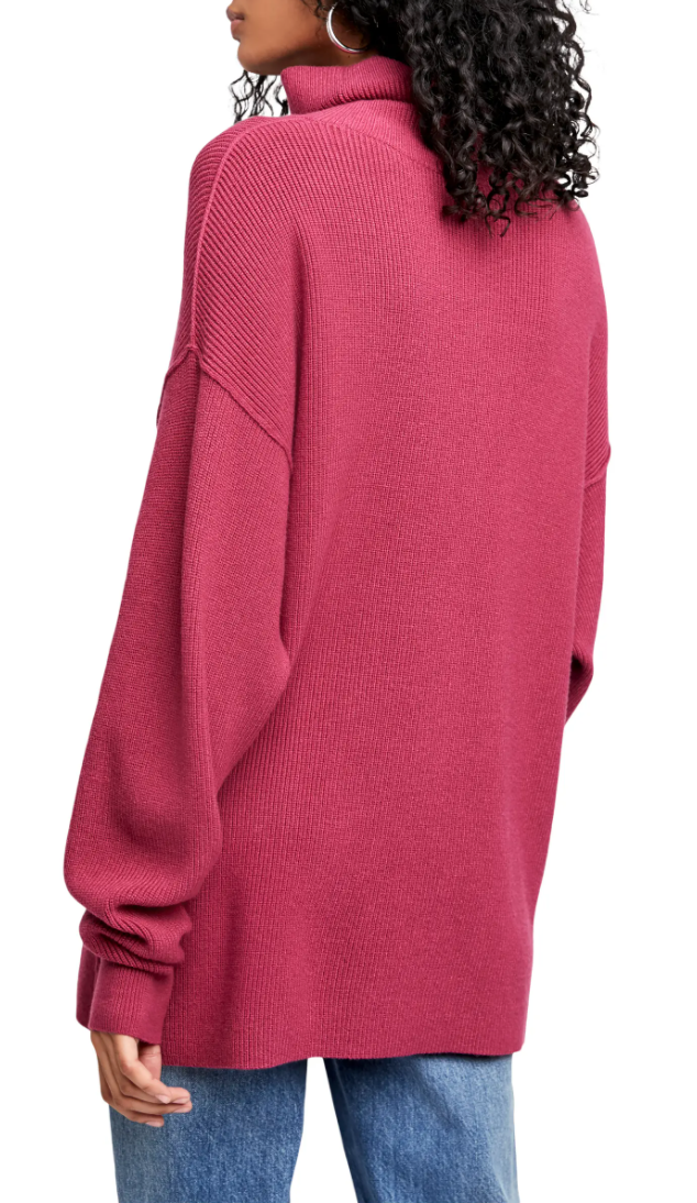 Free People Softly Structured Knit Tunic in Berry Crush