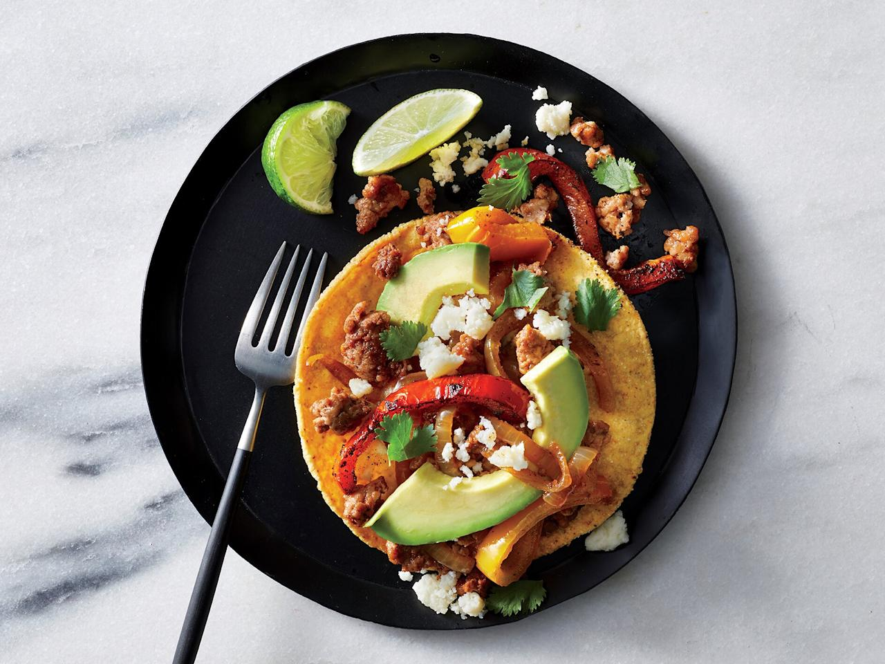 "<p>Uncured Mexican chorizo is raw ground pork laced with garlic, cumin, oregano, and chile powder—not the dried, cured links. Try it on a baked potato, too.</p> <p><a href=""https://www.myrecipes.com/recipe/chorizo-and-bell-pepper-tostadas"">Chorizo and Bell Pepper Tostadas Recipe</a></p>"