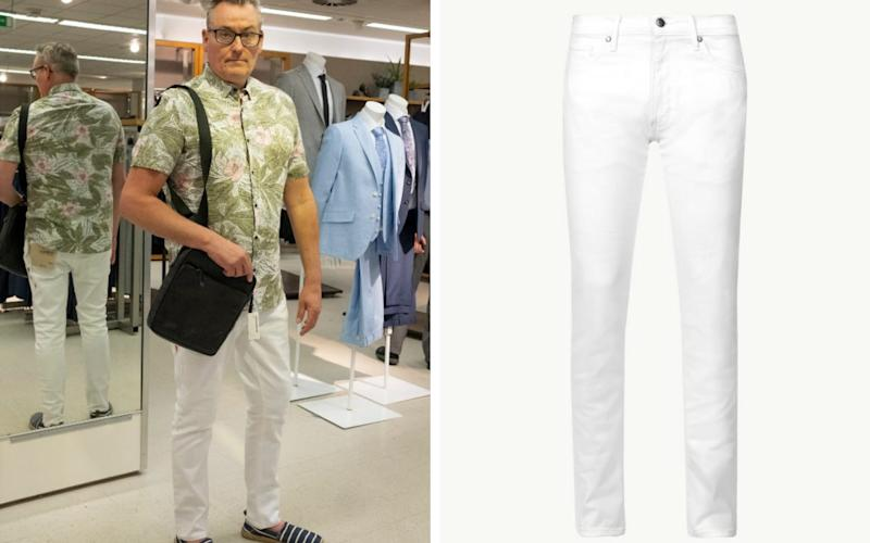 Tim Southwell tries on a pair of Marks & Spencer's slim-fit stretch white jeans - in a 36