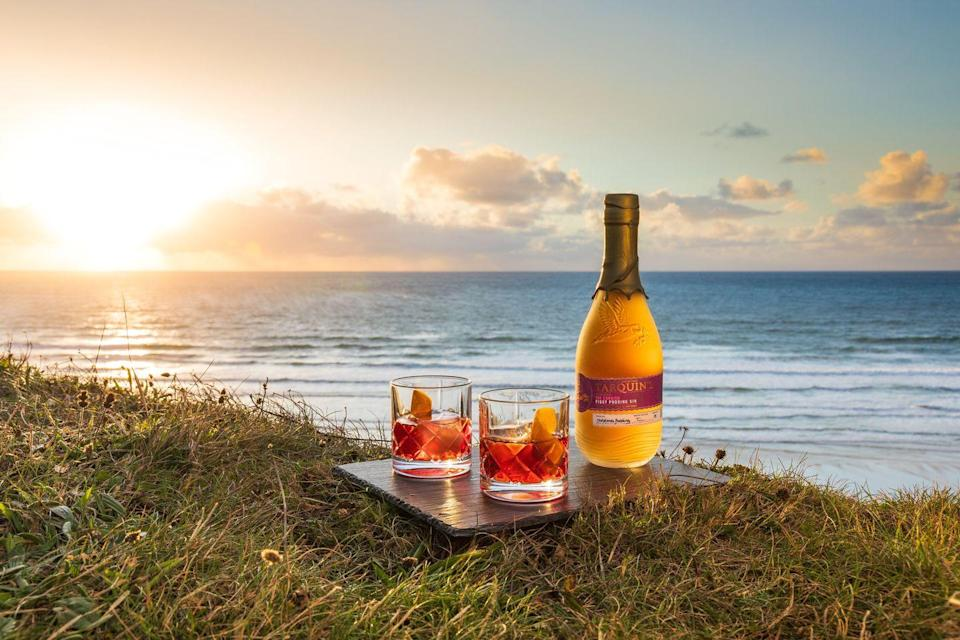 """<p>In a glass, combine 30ml <a href=""""https://www.johnlewis.com/tarquins-figgy-pudding-gin-70cl/p5003269"""" rel=""""nofollow noopener"""" target=""""_blank"""" data-ylk=""""slk:Tarquin's Figgy Pudding"""" class=""""link rapid-noclick-resp"""">Tarquin's Figgy Pudding</a>, 30ml Sweet Vermouth and 30ml Campari. Garnish with a clementine twist.</p>"""