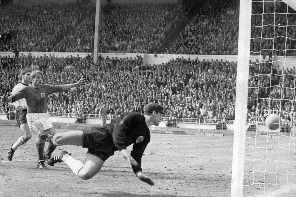 Roger Hunt about to celebrate as Geoff Hurst scores in England's 1966 World Cup Final win over Germany (Getty Images)