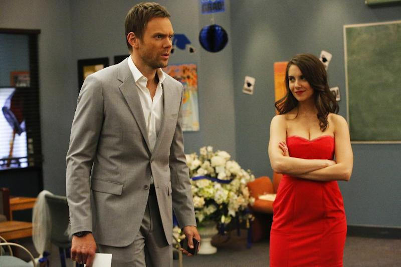 "This publicity photo released by NBC shows Joel McHale as Jeff and Alison Brie as Annie in Episode 411 ""Advanced Intro To Finality"" from the TV series, ""Community."" (AP Photo/NBC, Vivian Zink)"