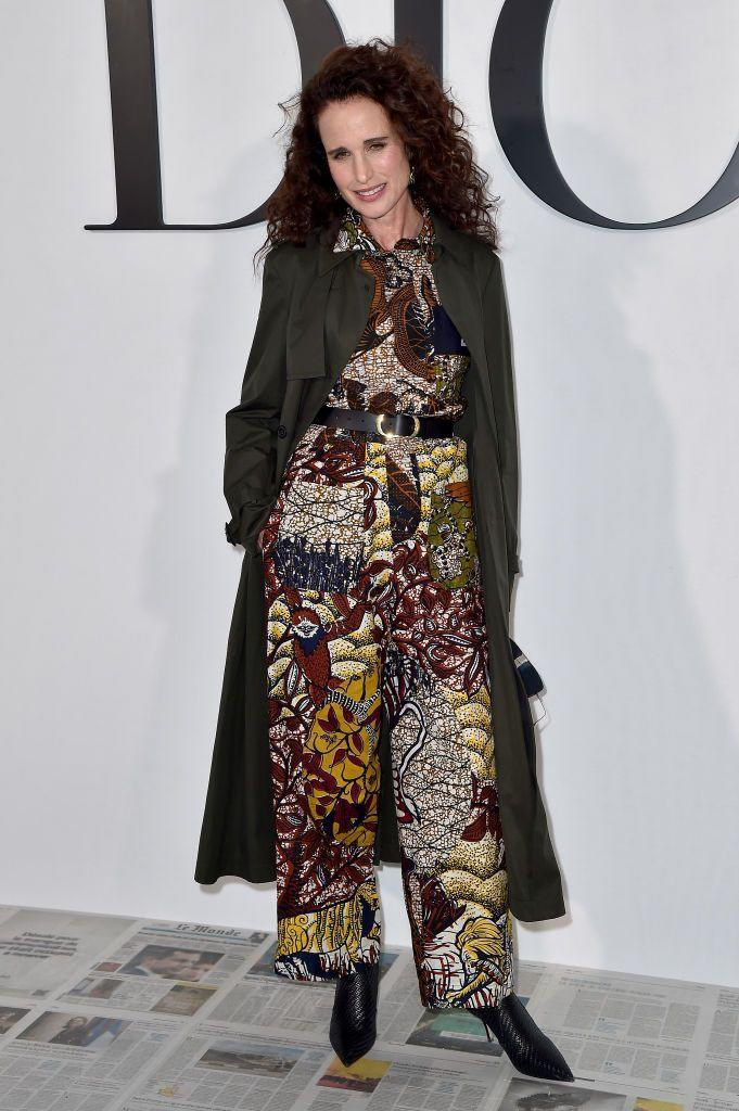 <p>Andie MacDowell opted for a patterned jumpsuit. </p>