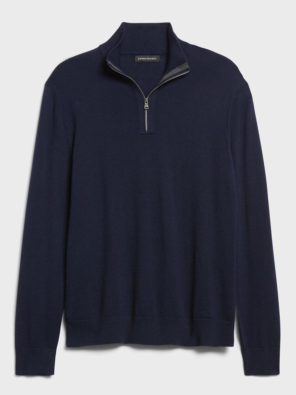 <p>And for another fabric and weight option, try the <span>Banana Republic Merino Half-Zip Sweater</span> ($89).</p>