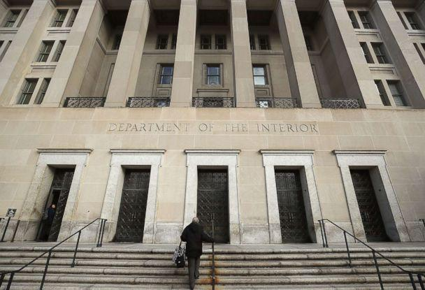 PHOTO: A worker arrives at the Department of Interior, Jan. 28, 2019 in Washington D.C. Last Friday President Donald Trump signed a temporary measure to reopen the government after it was partially shut down for 35 days. (Mark Wilson/Getty Images)