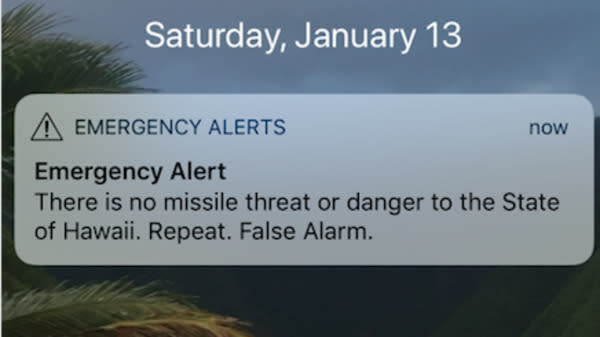 Hawaii residents and visitors received shocking mobile push alerts Saturday morning warning of an approaching missile and instructing people to seek shelter, but Hawaii's Emergency Management Agency quickly stated the message was sent in error.