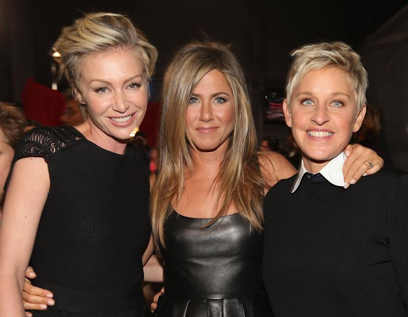 Ellen, Jennifer Aniston and Portia attend the 39th Annual People's Choice Awards at Nokia Theatre L.A. Live on January 9, 2013 in Los Angeles, California.