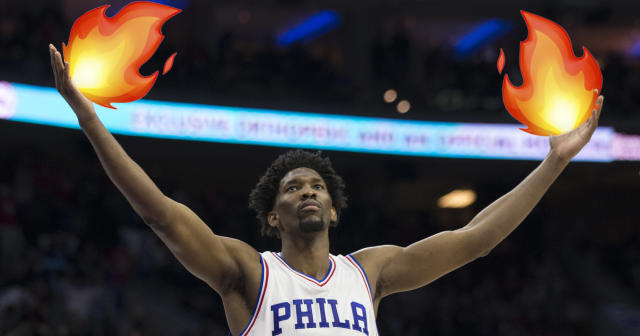 """<a class=""""link rapid-noclick-resp"""" href=""""/nba/players/5294/"""" data-ylk=""""slk:Joel Embiid"""">Joel Embiid</a> is a star on the court and on social media."""