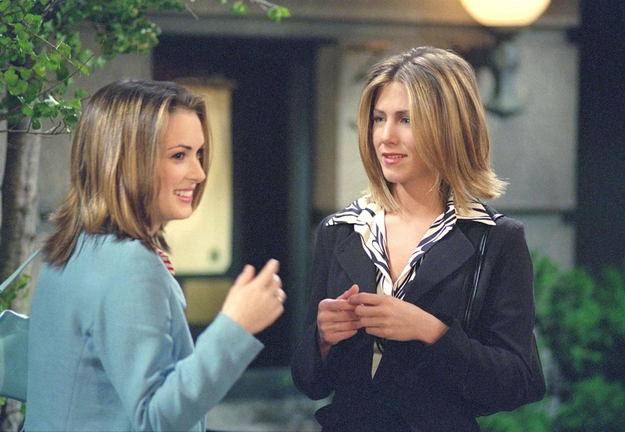 "Winona Ryder and Jennifer Aniston in Friends in the Episode ""The One With Rachel's Big Kiss,"" 2001. Photo courtesy of Getty Images."