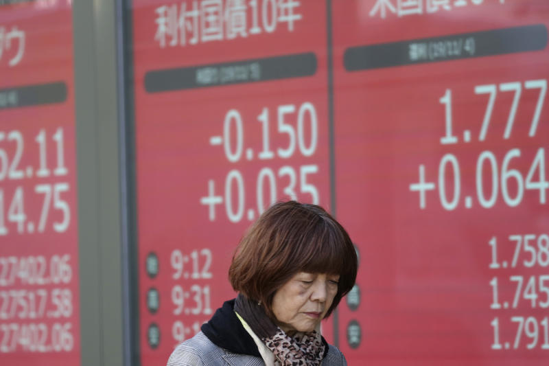 In this Tuesday, Nov. 5, 2019, photo, a woman walks by an electronic stock board of a securities firm in Tokyo. Asian stock markets were mixed Wednesday, Nov. 6, 2019, after investors were rattled by a possible snag in a U.S.-Chinese trade truce following reports Beijing wants Washington to life punitive tariffs. (AP Photo/Koji Sasahara)