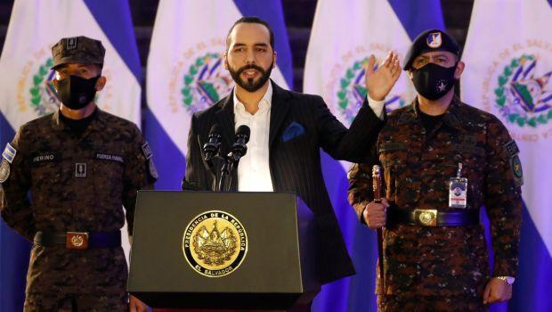 El Salvador's President Nayib Bukele speaks during a deployment ceremony of Salvadoran army soldiers