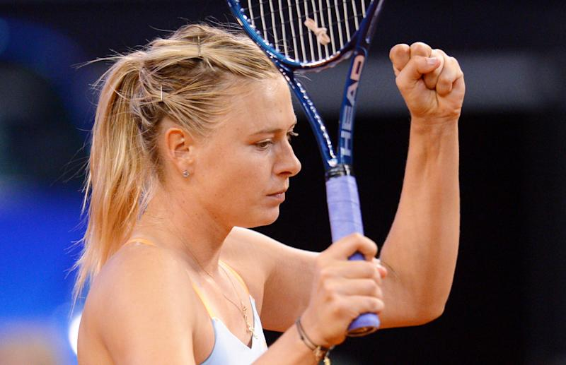 Russia's Maria  Sharapova reacts after winning the semi-final match against Germany's Angelique Kerber at the WTA Porsche Tennis Grand Prix in Stuttgart, Germany, 27 April 2013. Sharapova won the match with 6-3, 2-6 and 7-5. (AP Photo/dpa, Bernd Weissbrod)