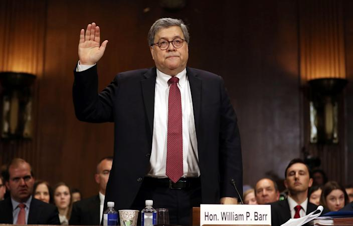 Attorney General William Barr is sworn in to testify before the Senate Judiciary Committee hearing on Capitol Hill in Washington on Wednesday. (Photo: Andrew Harnik/AP)