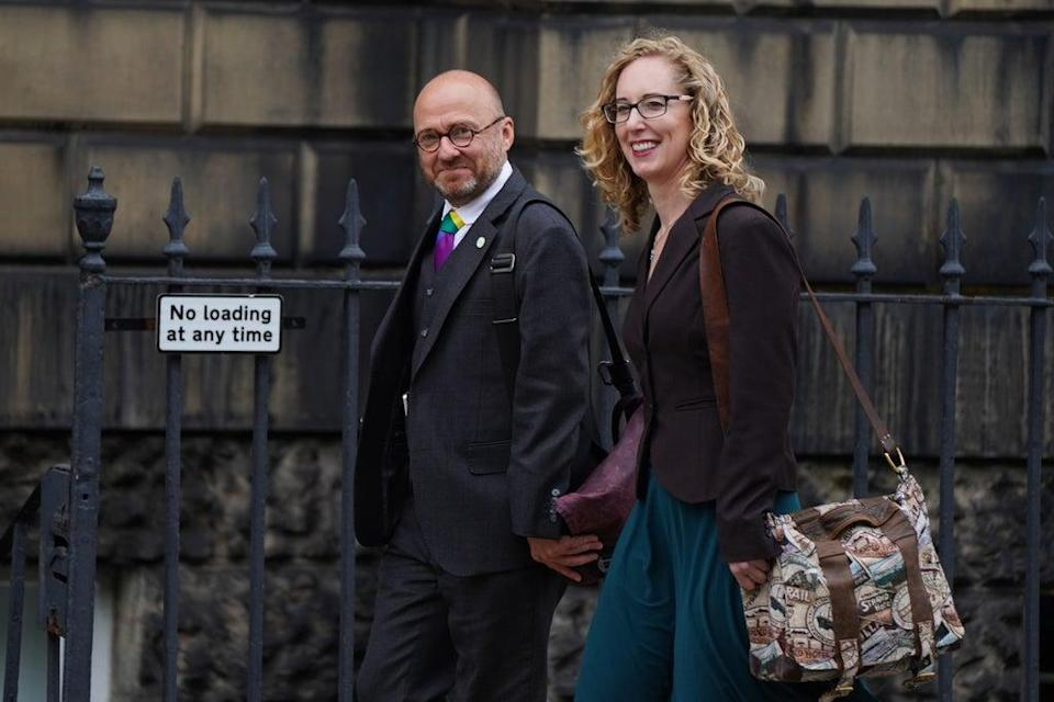 Scottish Green co-leaders Patrick Harvie and Lorna Slater went to Bute House to announce the agreement (Andrew Milligan/PA) (PA Wire)