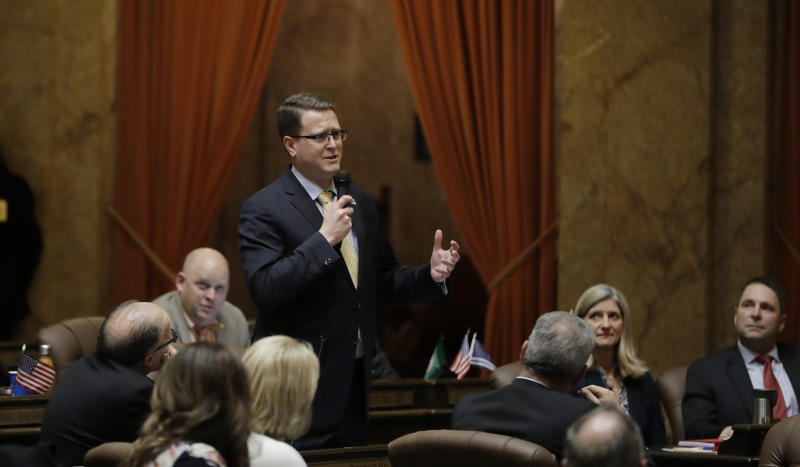 Rep. Matt Shea, R-Spokane, speaks Tuesday, April 9, 2019, on the House floor at the Capitol in Olympia, Wash., as lawmakers continued to work through the final month of the regular session of the Legislature. (AP Photo/Ted S. Warren)