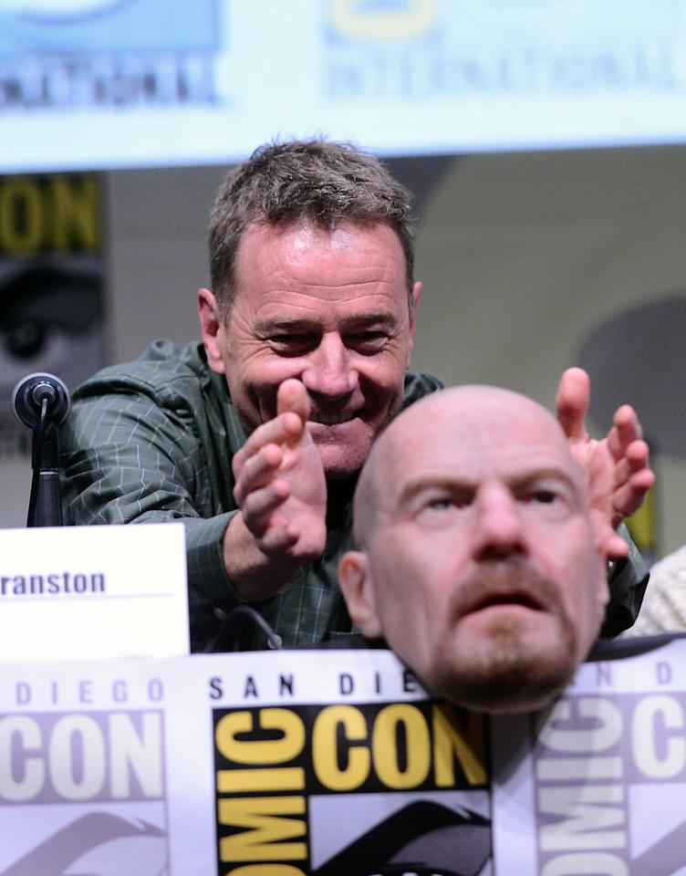 "Bryan Cranston speaks onstage at the ""Breaking Bad"" panel during Comic-Con International 2013 at San Diego Convention Center on July 21, 2013 in San Diego, California."